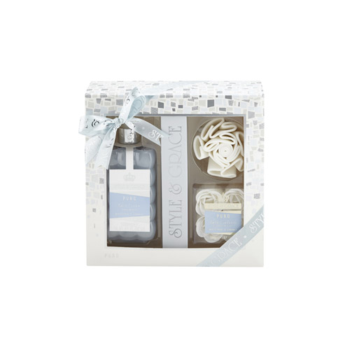 Style & Grace Puro Bathroom Retreat Gift Set 500ml Bath Cream + Rose Shaped Bath