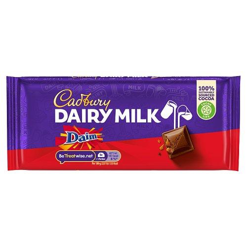 cadbury dairy milk with daim   chocolate single bar