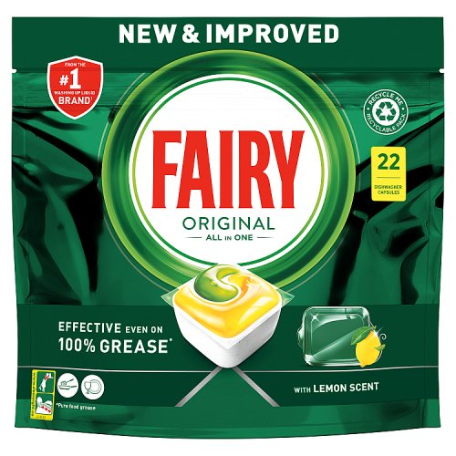 Image of Fairy All In One Dishwasher Tablets Lemon 22s