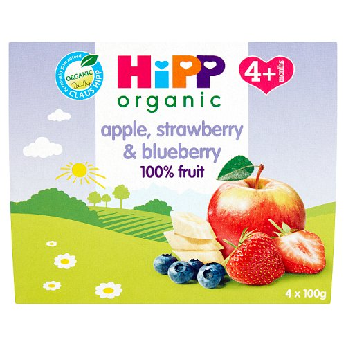 Hipp 4 Month Apple Strawberry & Blueberry 4 Pack