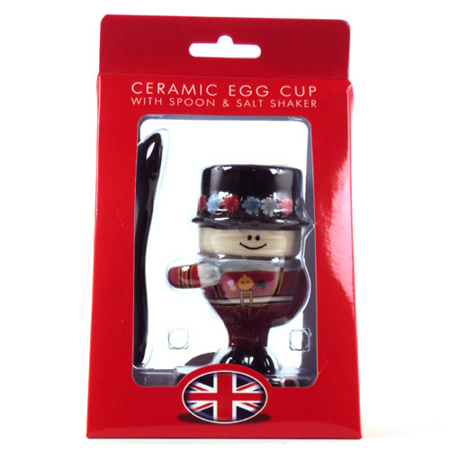 Image of Ceramic Beefeater Egg Cup With Spoon & Saltpot