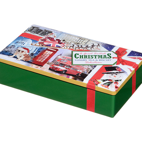Image of A Great British Xmas Green Tin with Tea & Biscuits