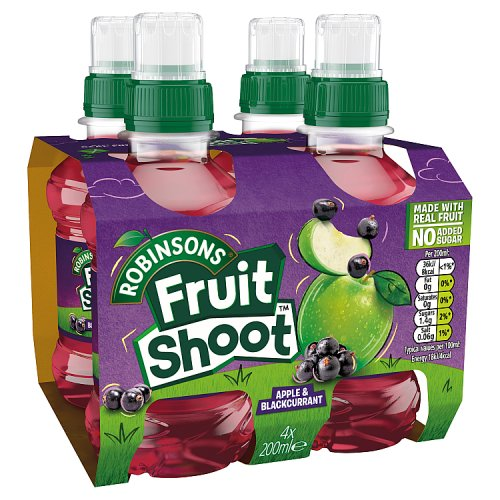 Robinsons Fruit Shoot Apple & Blackcurrant No Added Sugar 4 Pack