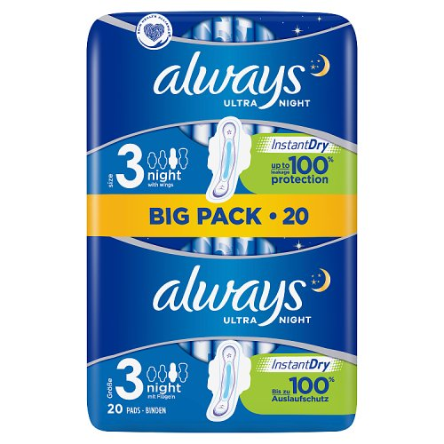 Always Ultra Night Size 3 20 Pads