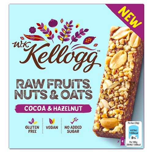 WK Kellogg's Raw Fruits Nuts & Oats Bars Cocoa & Hazelnut Granola 4 Pack