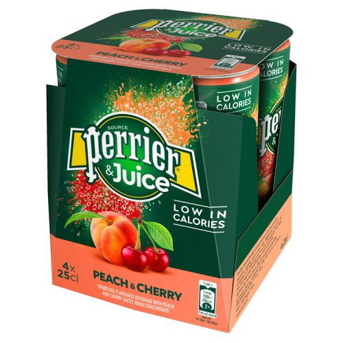 Perrier & Juice Sparkling Peach & Cherry Water 4 Pack
