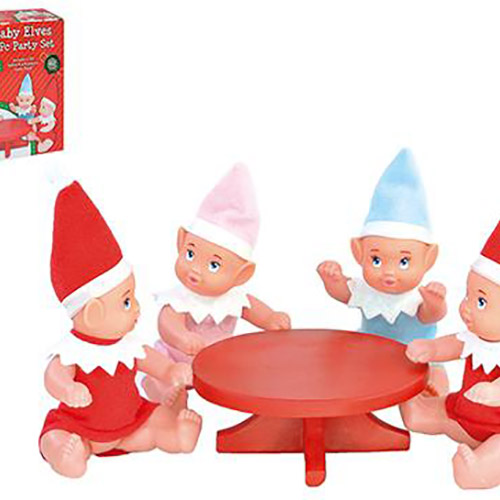 Elf Baby Party Set with 4 Elf Babies & Table