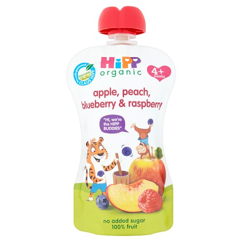 Hipp 4 Month Organic Peach Apple Blueberry & Raspberry Pouch