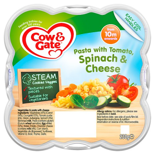 Cow & Gate 10 Month Steamed Meal Pasta Tomatoes Spinach & Cheese