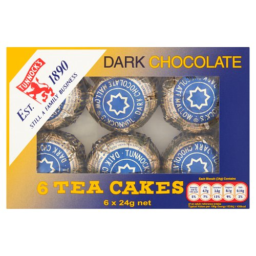 Tunnocks Tea Cakes Dark Chocolate 6 Pack