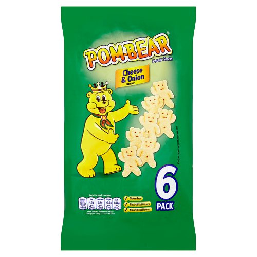 Pom Bear Cheese & Onion Snacks 6 Pack