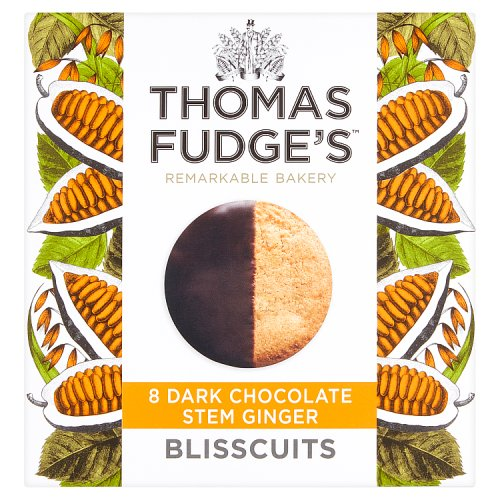 Fudges Half Dipped Stem Ginger Blisscuits 8 Pack