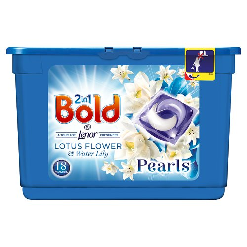 Image of Bold 2 in 1 Pearls Washing Capsules Lotus Flower & White Lily 18 Wash