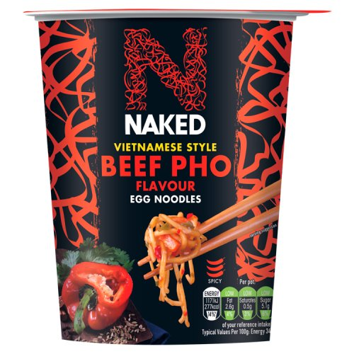 Noodles and beef naked