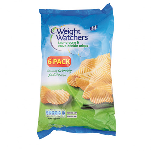 Weight Watchers Crinkle Crisps 6 Pack Sour Cream & Chive