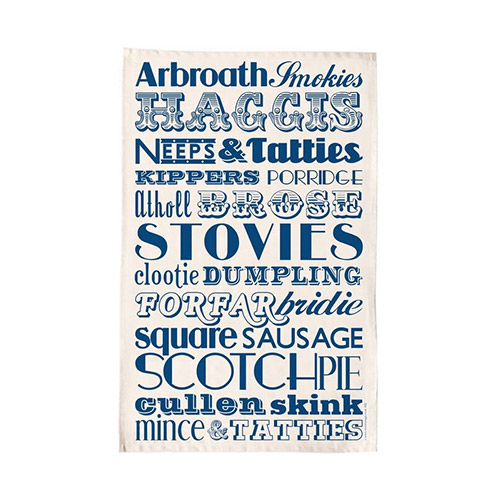 Victoria Eggs Scottish Dinner Tea Towel Navy