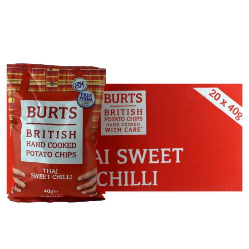 Cakes, Snacks & Sweets Burts Thai Sweet Chilli Potato Chips X20