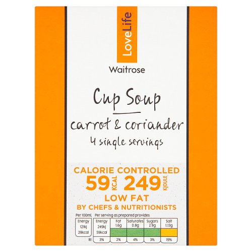 Waitrose LOVE life Cup Soup Carrot & Coriander 4 Pack