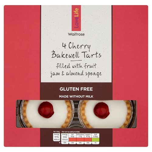 Waitrose LOVE life Free From Cherry Bakewell Tarts 4 Pack