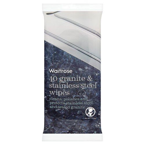 Waitrose Granite & Stainless Steel Wipes 40s