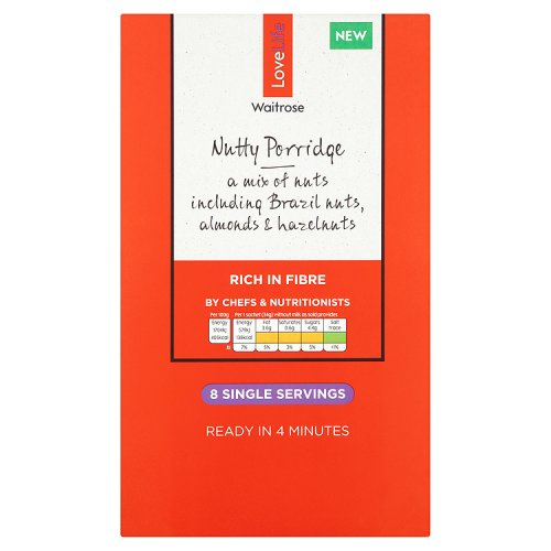 Waitrose LOVE life Nutty Microwave Oat Sachets 8 Pack