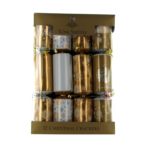 Tom Smith Cream & Gold Snowflake & Bauble Crackers 12 Pack