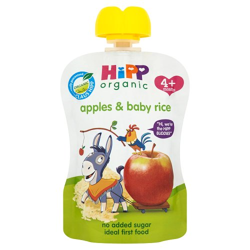 Hipp 4 Month Organic Apples with Baby Rice Pouch