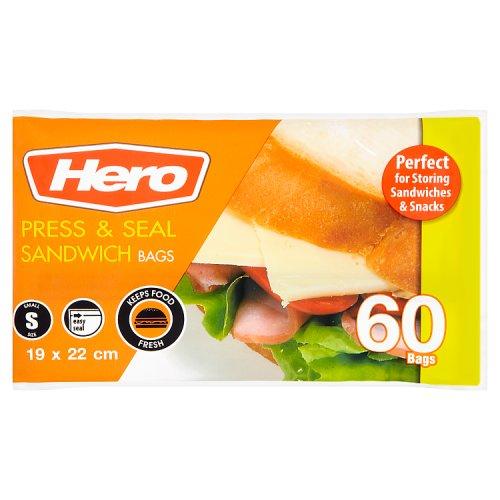 Image of Hero Press N Seal Sandwich Bags 60 Pack