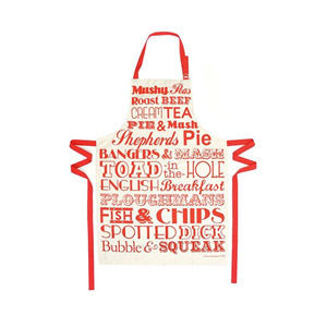 Victoria Eggs English Dinner Apron Red