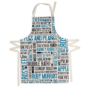 Victoria Eggs Cockney Rhyming Slang Apron Blue