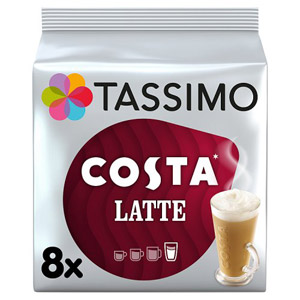 Tassimo Costa Latte Coffee Pods 8 Serving