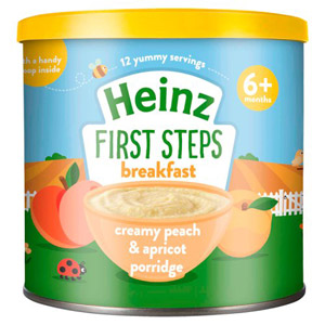 Heinz 6 Month First Steps Creamy Peach & Apricot Porridge Tub