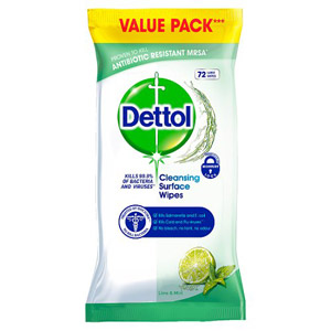 Dettol Cleaning Surface Wipes 72 Pack
