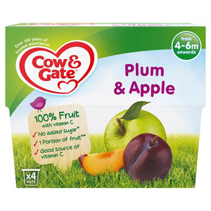 Cow & Gate 4-6 Month Plum & Apple Fruit Dessert 4 Pack