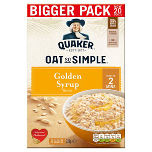 Quaker Oat So Simple Golden Syrup Family Pack 20 Sachets