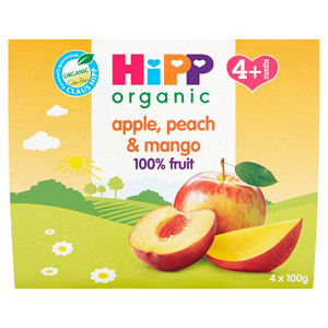 Hipp 4 Month Apple Peach & Mango Pots 4 Pack