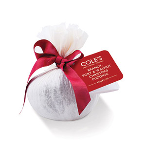 Coles Luxury Traditional Brandy Port & Walnut Round Christmas Pudding in Muslin
