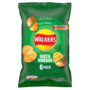 Walkers Salt and Vinegar Crisps 6 Pack