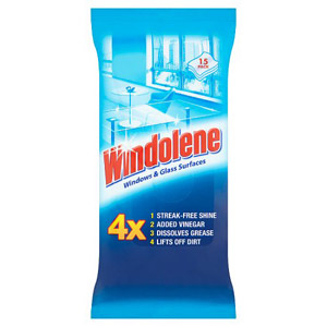 Windolene Glass And Shiny Surfaces Wipes 15 Pack
