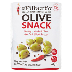 Mr Filberts Chilli & Black Pepper Pitted Green Olives