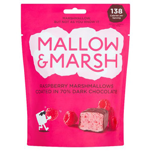 Mallow & Marsh Dark Chocolate Coated Raspberry Marshmallows