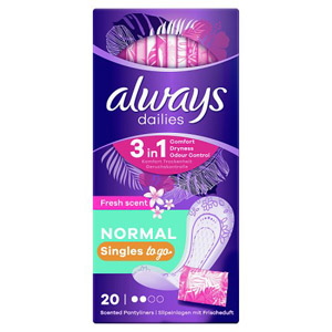 Always Dailies Single Panty Liners Fresh 20 Pack