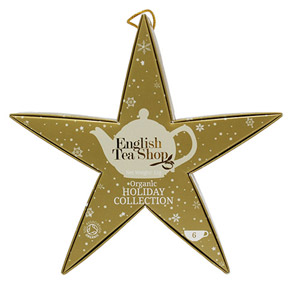 English Tea Shop Organic Holiday Collection Hanging Gold Star 6 Pyramid Tea Bags