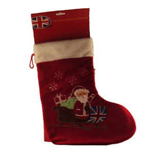 Large Santa on Union Jack Sledge Stocking