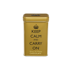 Keep Calm & Carry On Gold Tin with Hot Chocolate