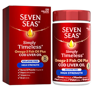 Seven Seas High Strength Gelatine Free Cod Liver Oil 120 Capsules