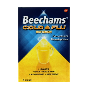 Beechams Cold And Flu Hot Lemon 5 Sachets