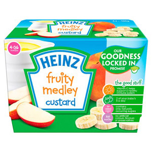 Heinz 4 Month Fruity Custard Fruit Medley 4 Pack