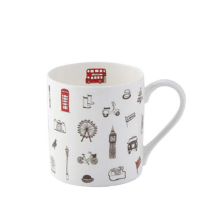 Victoria Eggs Simply London Mug Charcoal & Red
