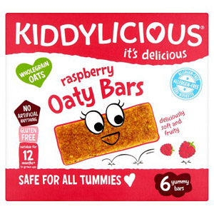 Kiddylicious Raspberry Allergen Free Oaty Bars 6 Pack